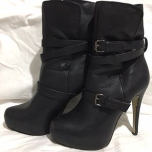 JustFab black high heal boots